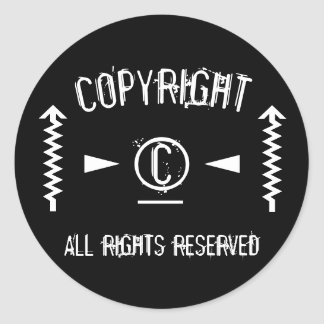 Copyright Symbol All Rights Reserved With Arrows Classic Round Sticker