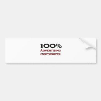 Copywriter de la publicidad del 100 por ciento pegatina de parachoque
