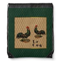 Coqs a la Ferme Vintage Drawstring Backpack