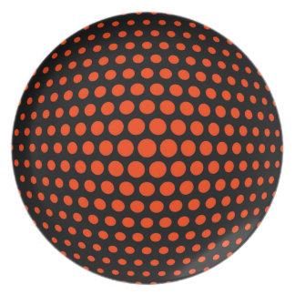 Coquelicot Polka Dot Pattern Melamine Plate