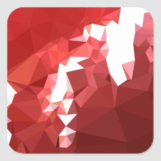 Coquelicot Red Abstract Low Polygon Background Square Sticker