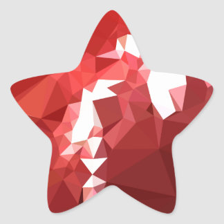 Coquelicot Red Abstract Low Polygon Background Star Sticker