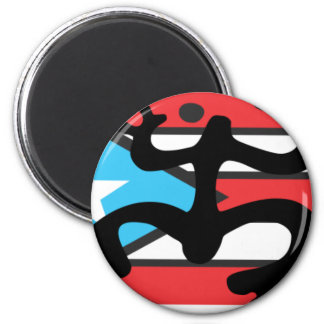 Coqui taíno on flag of Puerto Rico 2 Inch Round Magnet