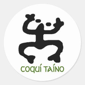 Coqui Taino Stikers Pegatina Redonda