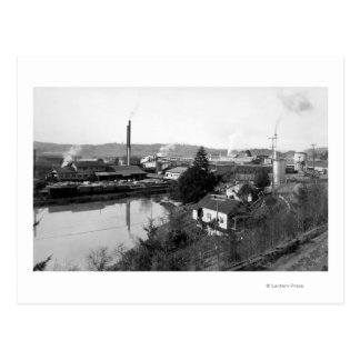 Coquille, OR Town View and Lumber Mills Postcard