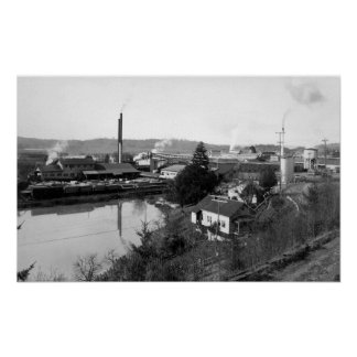 Coquille, OR Town View and Lumber Mills Poster