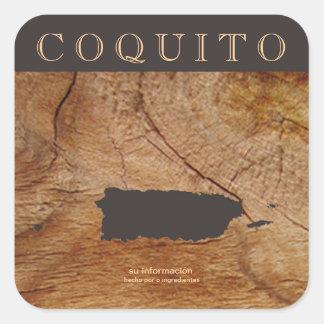 Coquito Puertorriqueno Mapa Pegatina Cuadrada
