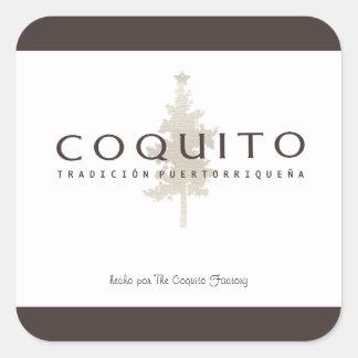 Coquito Tradicion Puertorriquena Pegatina Cuadrada