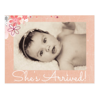 """Coraal Photo """"She's Arrived""""  Birth Announcement Postcard"""