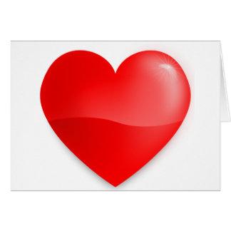 Coração vermelho brilhante card