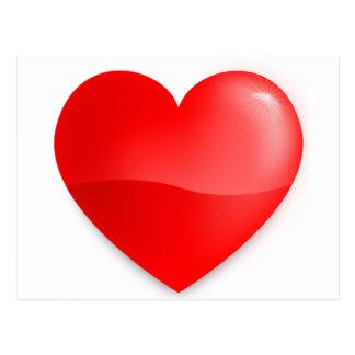 Coração vermelho brilhante postcard