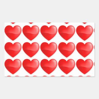 Coração vermelho brilhante rectangular sticker