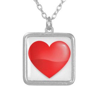 Coração vermelho brilhante silver plated necklace