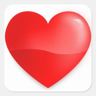 Coração vermelho brilhante square sticker