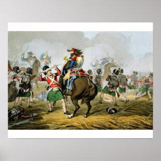 Coraceros franceses en la batalla de Waterloo, car Póster