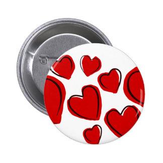 Corações vermelhos button
