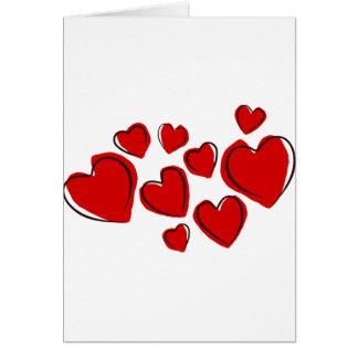 Corações vermelhos card