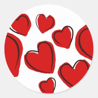 Corações vermelhos classic round sticker