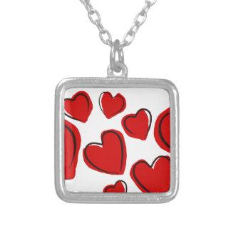 Corações vermelhos personalized necklace