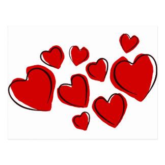 Corações vermelhos postcard