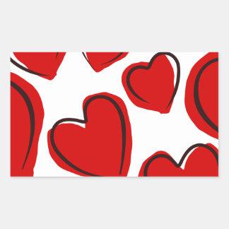 Corações vermelhos rectangular sticker