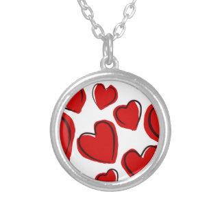 Corações vermelhos silver plated necklace
