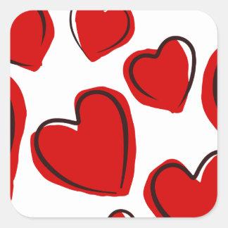 Corações vermelhos square sticker