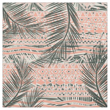 Aztec Themed Coral Abstract Aztec Tropical Palm Tree Pattern Fabric