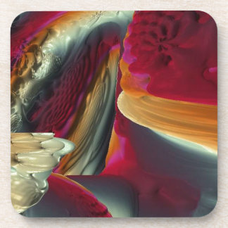 Coral Abstract Fractal Beverage Coaster