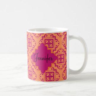 Coral anaranjado y gráfico magenta del marroquí taza de café