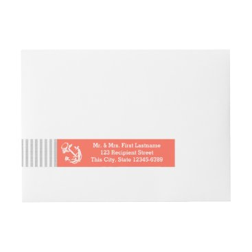 Beach Themed Coral Anchor and Grey Stripe Wrap Around Address Label