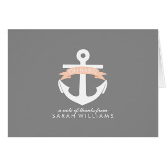 Coral Anchor Nautical Baby Shower Card