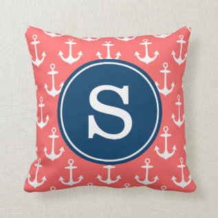 Coral Anchor Pattern With Navy Monogram Pillow at Zazzle