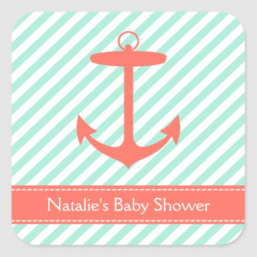 Coral Anchor Silhouette Baby Shower Stickers