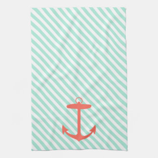 Coral Anchor Silhouette Kitchen Towel