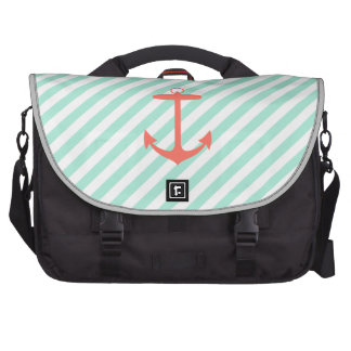 Coral Anchor Silhouette Laptop Bags