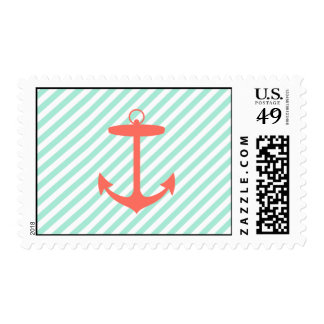 Coral Anchor Silhouette Postage Stamp