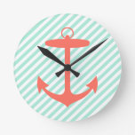 Coral Anchor Silhouette Round Clock