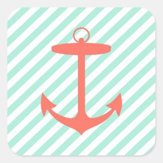 Coral Anchor Silhouette Square Sticker