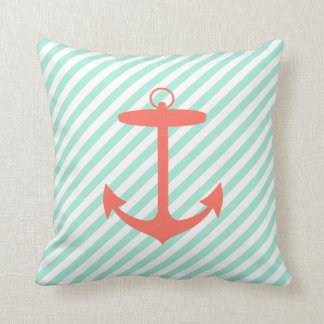 Coral Anchor Silhouette Throw Pillow