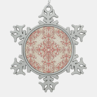 Coral and Antique White Floral Damask Style Art Ornament