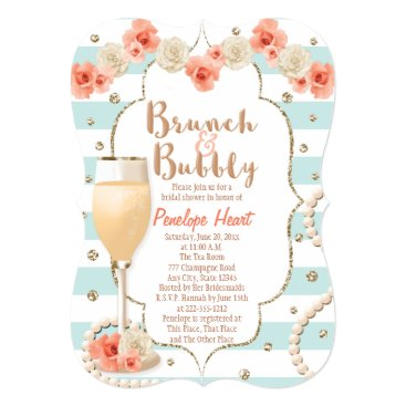 Valentines Themed Coral and Aqua Brunch and Bubbly Bridal Shower Card