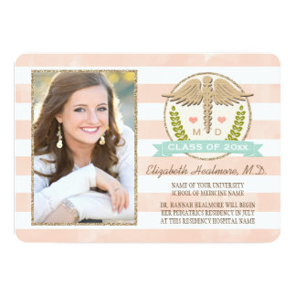 CORAL AND AQUA CADUCEUS MEDICAL SCHOOL GRADUATION CARD