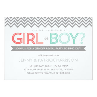 Coral and Aqua Chevron Baby Gender Reveal Party 5x7 Paper Invitation Card