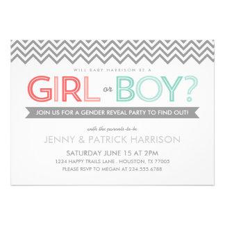 Coral and Aqua Chevron Baby Gender Reveal Party Custom Invitations