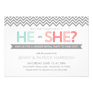Coral and Aqua Chevron Baby Gender Reveal Party Personalized Announcements