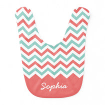 Coral and Aqua Chevron Custom Name Baby Bib