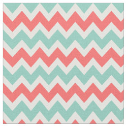 Coral and Aqua Modern Chevron Fabric