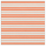 [ Thumbnail: Coral and Beige Colored Striped/Lined Pattern Fabric ]