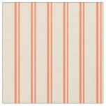 [ Thumbnail: Coral and Beige Lines Pattern Fabric ]